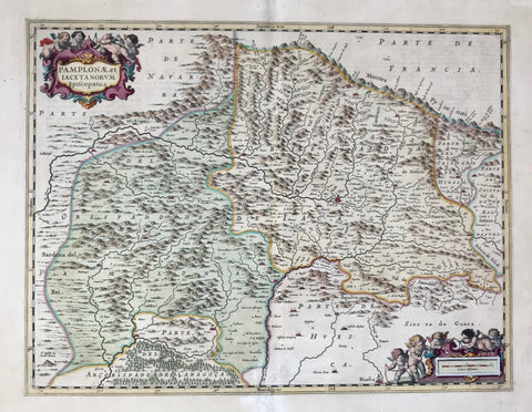 """Pamplonae et Iacetanorum Episcopatus""  Copper engraving map of the area of Jaca which is in the center of this map.  By J. Janssonius ca 1670. On the reverse side is text in Spanish about Jaca and the region which is in the episcopate of Pamplona.  To the left of the lower cartouche is Huesca. Part of the episcopate of Zaragoza (Caragoca) is in the lower left part of the map."