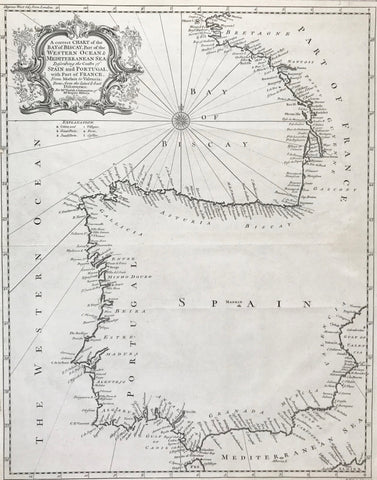 """A correct Chart of the Bay of Biscay, Part of the Western Ocean and Mediterranean Sea describing the Coasts of Spain and Portugal with Part of France from Morlaix to Valencia Done from the latest and best Discoveries""  Portolan map of the Iberian Peninsula (and Western France including the Bretagne)  Type of print: Copperplate etching  Engraver and artist: Richard William Seale (1703-1762)  Published in: ""Tindal's Continuation of Rapin's History""  London, ca. 1745"