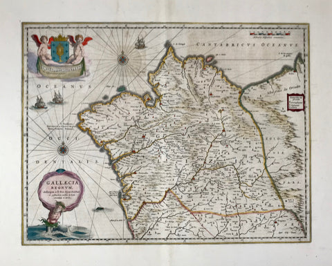"""Gallaecia Regnum"". (Spanish Galicia.) Copper etching by F. fer. Ojea. Published by Blaeu. Amsterdam 1647. Outstanding original hand coloring!  Attractive, decorative map of the northwest corner of the Iberian Peninsula. Two cherubs hold royal Galician coat of arms with a monstance containing the holy of holies, the body of Christ our Lord. Neptune stepping from the Atlantic holding the maop's title cartouche.  Lively sailship staffage. Reverse side is printed ( in Latin ). Text related to Galicia."