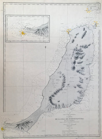 Lithograph by J. Nogruera after the drawing by F. Bregante. Originally issued in 1851. (The actual drawing was made in 1835). Map was re-issued in 1897 and in 1911.This copy printed and published in Madrid, 1911  A very detailed, large map of Fuerteventura. With an inset of Point Jandia with its lighthouse.  Basically printed in black and white. Only the lighthouses of Punta Pechiguera