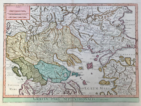 """Graeciae Pars Septentrionalis"". Copper etching by Guillemo Delisle. Very attractive modern hand coloring over original borderline coloring. Puiblished by Laurie & Whittle. London, 1794.  This very attractive map centers in detail on Northern Greece, Albania, Macedonia, Northern Turkey, Romania, Bulgaria, reaching over to ""Constantinople"" and the Black Sea. Since all topographical names are historical names this has to be considered a historical map. There is a mileage chart in upper left corner."