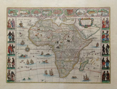 """Africa nova descriptio Auc. Guiljelmo  Blaeuw""  Delicately hand-colored copper etching  By Willem Blaeu (1571-1638)  Published by Johan Blaeu  Amsterdam, 1647  Highly decorative map of Africa.  Beautiful border decoration. Top from left to right city views in the shape of medallons: Tanger, Ceuta, Algiers, Tunis, Alexandria, Alcair (Kairo), Mozambique, S.Georgius de la MIna (Elmina, Ghana, formerly Gold Coast), Canaria."