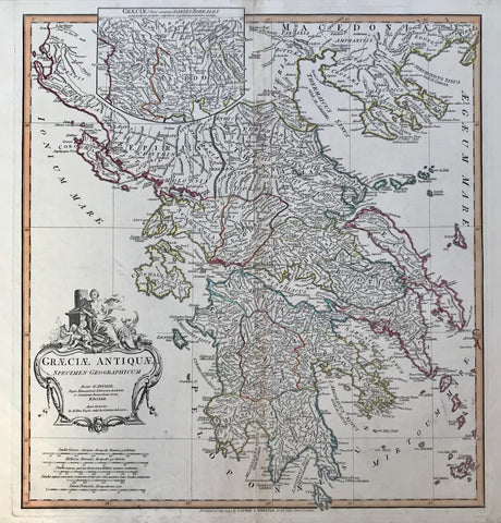 """Graeciae Antiquae Specimen Geographicum"" Copper engraving by D'Anville published 1794 in London. Original outline coloring.  This detailed Greek shows the historical regions with the surrounding islands. In the lower right corner are the islands of Melos, Ananes and Cimolus. In the upper right is part of Macedonia. In the upper left is a special inset showing details of Macedonia and the surrounding area."