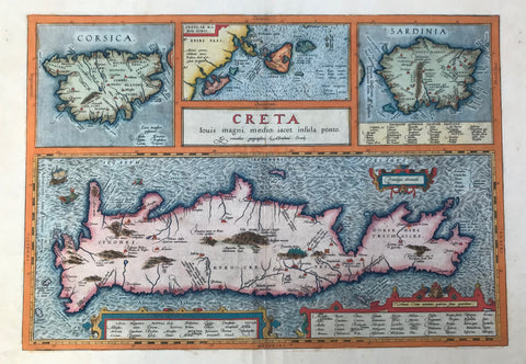 """Creta Iovis magni, medio iacet insula ponto""  Hand-colored copper etching from the Atlas: ""Theatrum Orbis Terrarum"" by Abraham Ortelius.  This historic map of the island Crete was publsihed in Antwerp, 1584  Map shows also as insets: Corsica, Sardinia and a group of islands in the Ionian Sea: Kerkyra, Paxi, Lefkada, Kefallonia, Ithaki, Zakynthos."