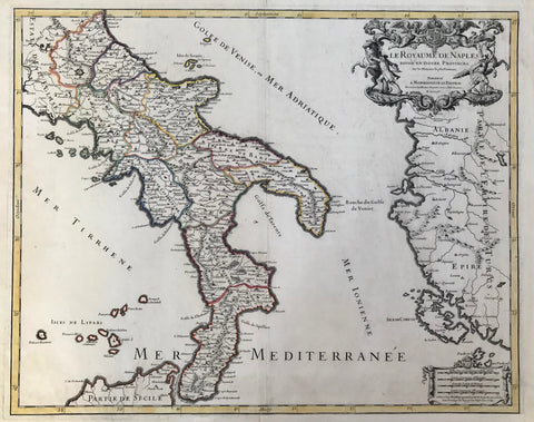 """Le Royaume de Naples Divise en Douze Provinces sur les Memoires les Plus Nouueaux"" ""Presente a Monseigneur Le Dauphin""  Copper engraving by H. Jaillot ( 1632-1712) Published ca 1695 in Paris. Outline hand coloring.  This attractive map shows the Kingdom of Naples in fine detail. The map extends as far north as Ascoli Piceno. On the right is part of Albania which was then part of the Turkish Empire. The island of Corfu is above the mileage chart."