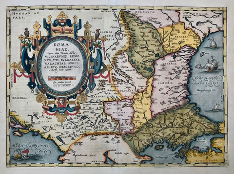 """Romaniae, (quae olim Thracia dicta) Vicinarumque Regionum, Uti Bulgariae, Walachiae, Syrfiae, etc. Descriptio. Auctore Iacobo Castaldo MDLXXXIIII""  One of the most beautiful maps in the Theatrum Orbis Terrarum. A Renaissance cartouche of size and beauty!  Type of print: Copper etching  Color: Exquisite hand coloring  Artist: Jacobo Castaldo (Jacopo Gastaldi ca. 1500-1586)  Published: In ""Theatrum Orbis Terrarum"". Antwerp, dated 1574  Publisher: Abraham Ortelius (1527-1598)"