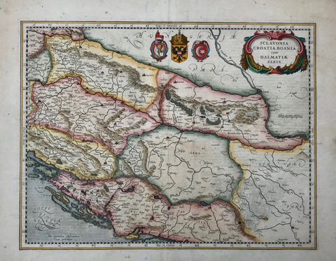 """Sclavonia, Croatia, Bosnia cum Dalmatiae parte""  Hand-colored copper etching by Gerard Mercator.  Published in the atlas by Henricus Hondius, Janssonius  Amsterdam, 1645  Map shows Mediterranian coast line from the island of Rab (Arbe) to the island of Brac (Brazza). In the north the run of the river Drau from Ptuj (Pettau) in Slowenia towhee it joins the Danube at Belgrade. So this map comprises parts of Slowenia, Croatia, Serbia and Bosnia."