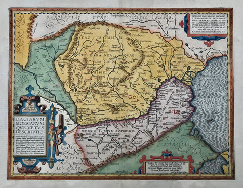 """Daciarum, Moesiarumque, vetus descriptio"". Copper etching from ""Theatrum orbis terrarum"" by Abraham Ortelius, Antwerp 1595. Recent hand coloring.  This very attractive map was done by the great cartograph, Abraham Ortelius, himself. It shows the area of present day Romania and Bulgaria extending south to the Bosporus by Istanbul. The map has three Renaissance cartouches."