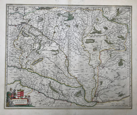 """Hungaria Regnum"". Copper etching published by Wilhelm and Johannes Blaeu. Amsterdam, ca. 1650.  Map shows the area from From Vienna to Temswar, from the Carpathian mountains to Belgrade. On the reverse side is text in German."