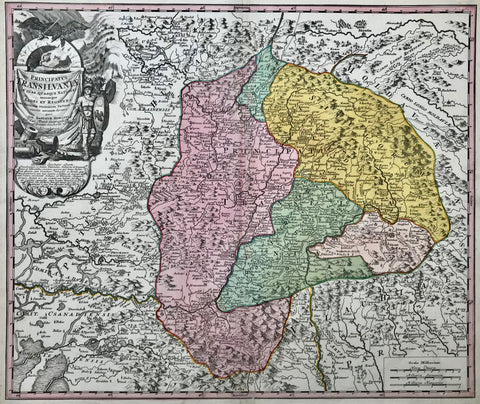 """Principatus Transilvaniae in suas quaque nationesearumque sedes et Regiones...""Copper engraving by Johann Baptist Homann. Original hand coloring. Nuremberg, 1723.  Map centers on Transilvania, also showing parts of Vallachia, Comitatus Temesiensis, parts of Moldavia and Hungary.  Very nice map. Clean and attractive. Small repaired tear in lower margin."