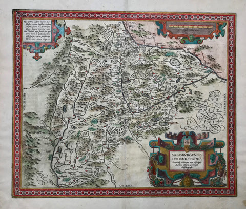 """Salisburgensis iurisdictionis locorumque vicinorum vera descriptio, auctore Marco Secznagel Salisburgense"" Copper engraving by Marco Secznagel for the ""Theatrum orbis terrarum"" by Abraham Ortelius, ca 1600. Original hand coloring.  The map is west oriented so that ""north"" is on the right side.In the upper right is part of the course of the Inn River and a bit lower the Salzach River. In the lower left is part of the Drau river. In the center of the map is Zell See."