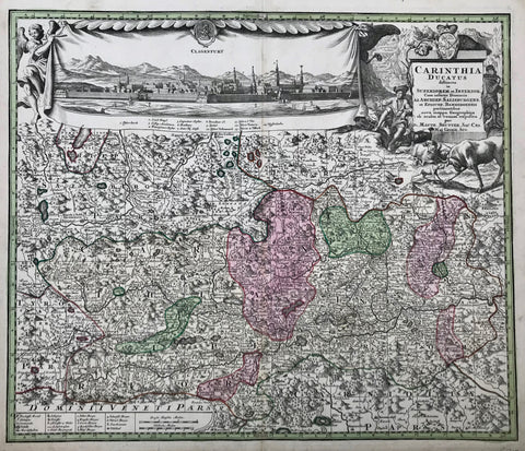 """Carinthia Ducatus distincta in Superiorem et Inferior...""  Decorative copper engraving map by Martin Seutter of Carinthia (Kaernten). In the upper left is a fine view of the city of Klagenfurt. This map shows the towns and cities in great detail as well as the topography of this beautiful region of Austria.  Published in Augsburg ca 1750"