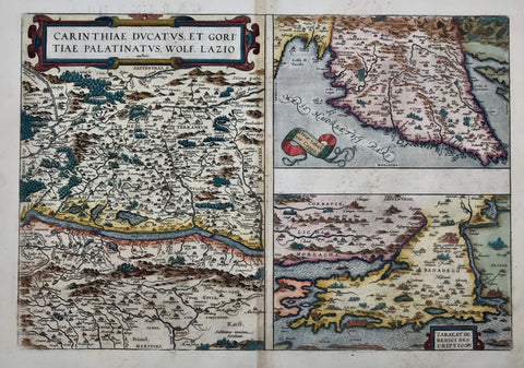 """Carinhtiae Ducatus, et Goritiae Palatinatus"". ""Histriae Tabula"". ""Zarae et Sebenici Descriptio"". Three maps on one page. Copper etchings. Good recent hand coloring. Published in Abraham Ortelius: ""Theatrum Orbis Terrarum"" 1598.  Left half devoted to Carinthia in Austria. Right side divided to equal parts between the peninsula of Istria and the area of Zadar in Croatia."