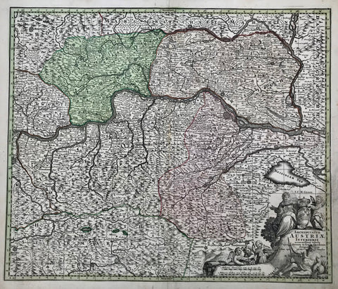 """Archiducatus Austriae Inferioris accuratissima tabula...."" Copper engraving by M. Seutter, ca 1740. Hand coloring.  Very detailed map with the course of the Danube in the upper middle area. On the left the Danube enters at Enns and Steyr and flows out on the right side at Presburg. In the upper left corner is Rudolfstadt in Bohemia. In the upper right is Landtshut and Goding on the Moravia River. In the lower left is Rottenman in Styria. In the lower right near the cherubs is Pinkenfeldt and Friburg."