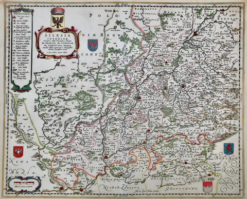 """Silesia Inferiore"". Copper etching by Jonas Schulz for Johann and Corneeille Blaeu, ca 1650. Recent hand coloring.  The east-oriented map shows the region with Posen and Breslau in the east and Landsberg an der Warte in the north. Kustrin, Frankfurt an der Oder and the Lausitzer Neisse are in the west. In the south is Zittau and Liegnitz. The title cartouche is in the upper left corner. Four small coats-of-arms are scattered on the map."