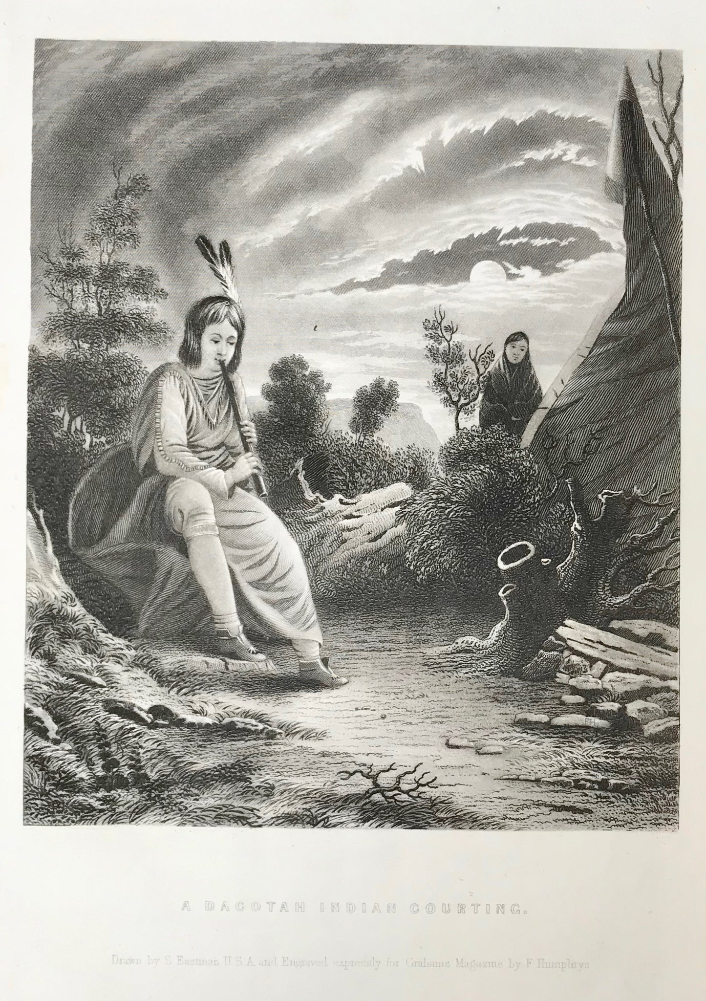"""A Dacotah Indian Courting"".  Steel engraving made after the drawing by S. Eastman ca 1850."