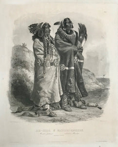 """Sih-Chidä & Mahhchsi-Karehde""  Mandan Indianer - Indiens Mandans - Mandan Indians  Aquatint etching by Hürlimann after the painting by Carl Bodmer (1809-1893)  UNCOLORED  Published as Plate 20 in:  ""Reise in das Innere Nord-America in den Jahren 1832 bis 1834"""