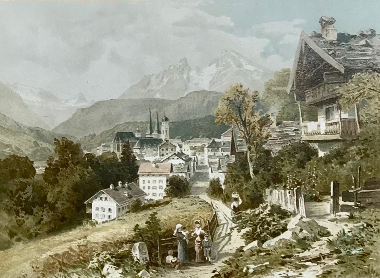 "Berchtesgaden  Chromolithograph published by Wenzel and Naumann in Leipzig, ca 1895. Print has its original mounting on stiff beige backing. Light creasing on margin corners of backing.  18.1 x 24.8 cm ( 7.1 x 9.7 "")"