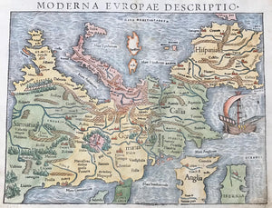 """Moderna Europae Descriptio""  Hand-colored woodcut.  Published in ""Cosmographia"" by Sebastian Muenster (1488-1552)  Latin edition  Basel, 1554  At the early time in printing, when Sebastian Muenster published his ""Cosmographia"", there was no consent among cartographers about printing maps north-oriented."