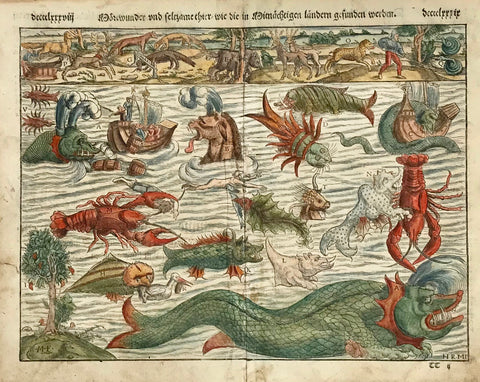 """Moerswunder und seltzame thier wie die in Mitnaechtigen laendern gefunden werden""  Hand-colored woodcut. Published in ""Cosmographia"" by Sebastian Muenster (1488-1552). This print was published in Basel in 1553.  The woodcut was cut by Hans Rudolf Manuel Deutsch, who signed in the lower right corner of the woodcut with his initials: HRMD"