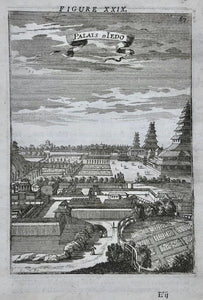 """Palais De Iedo""  (Tokyo)  Copper etching by Mallet, 1683. Verso: Text in French."