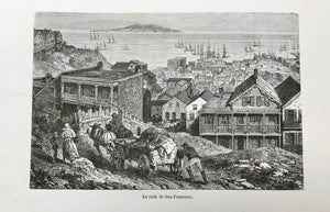 """La rade de San Francisco""  Wood engraving ca 1880."