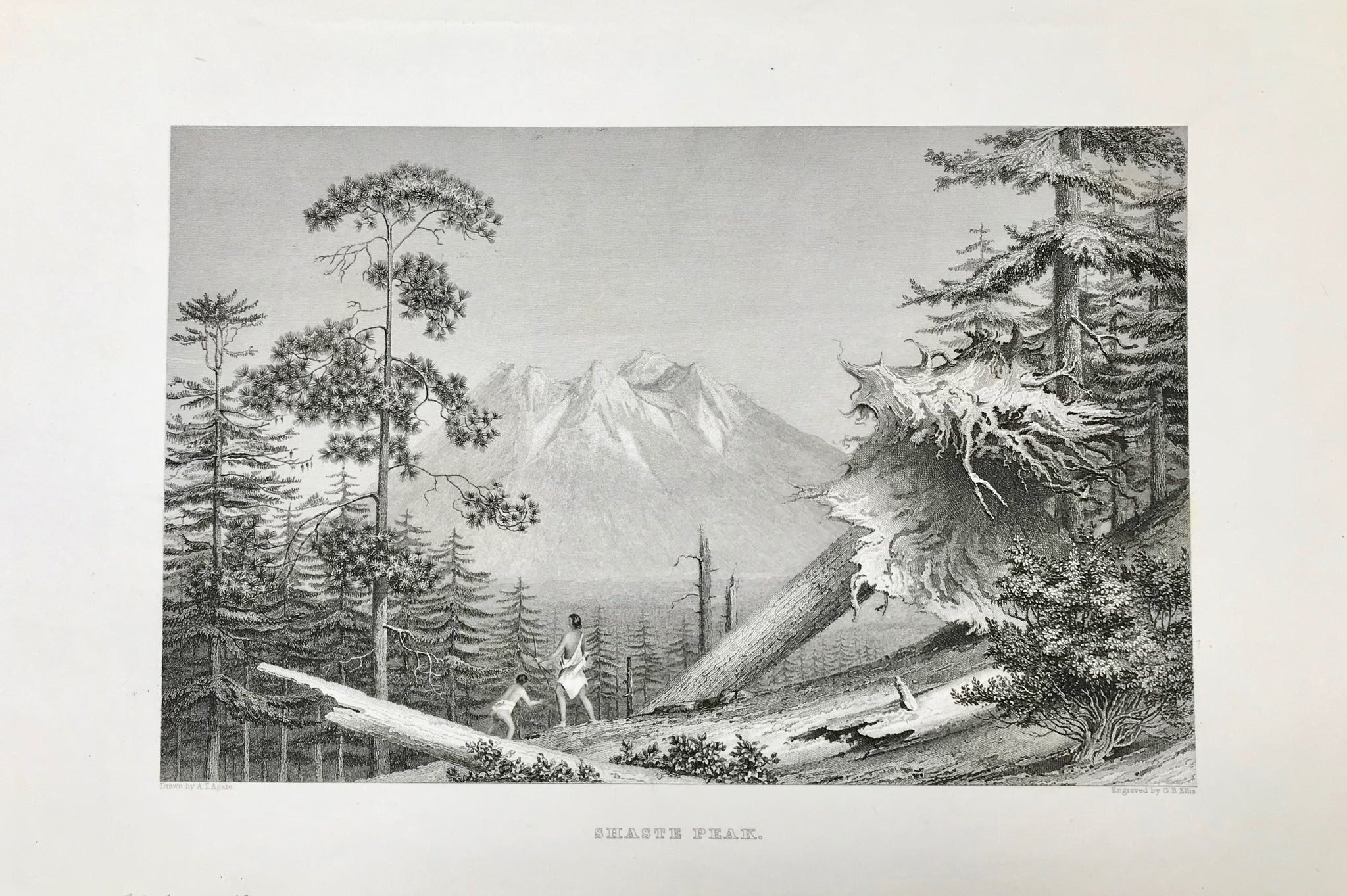 """Shasta Peak""  Very fine steel engraving by G.B. Ellis after A.T. Agate, 1845."