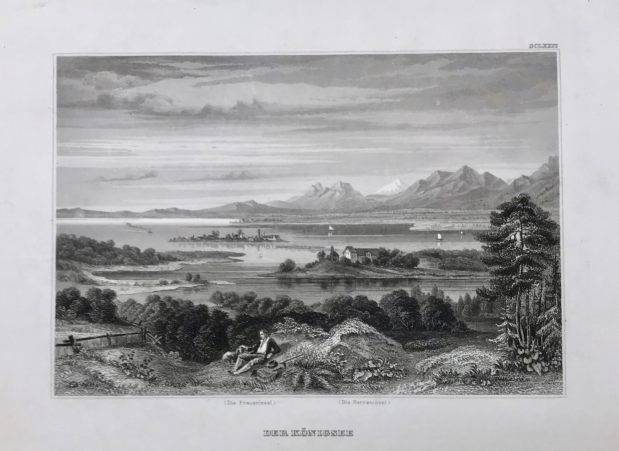 """Der Koenigsee""  Steel engraving ca 1850. The Chiemsee was also named Koenigsee (the king's lake) because the island of Herrenchiemsee was the Residence of King Ludwig II. Written below the image in very small print is "" (Die Fraueninsel) (Der Herreninsel)""."