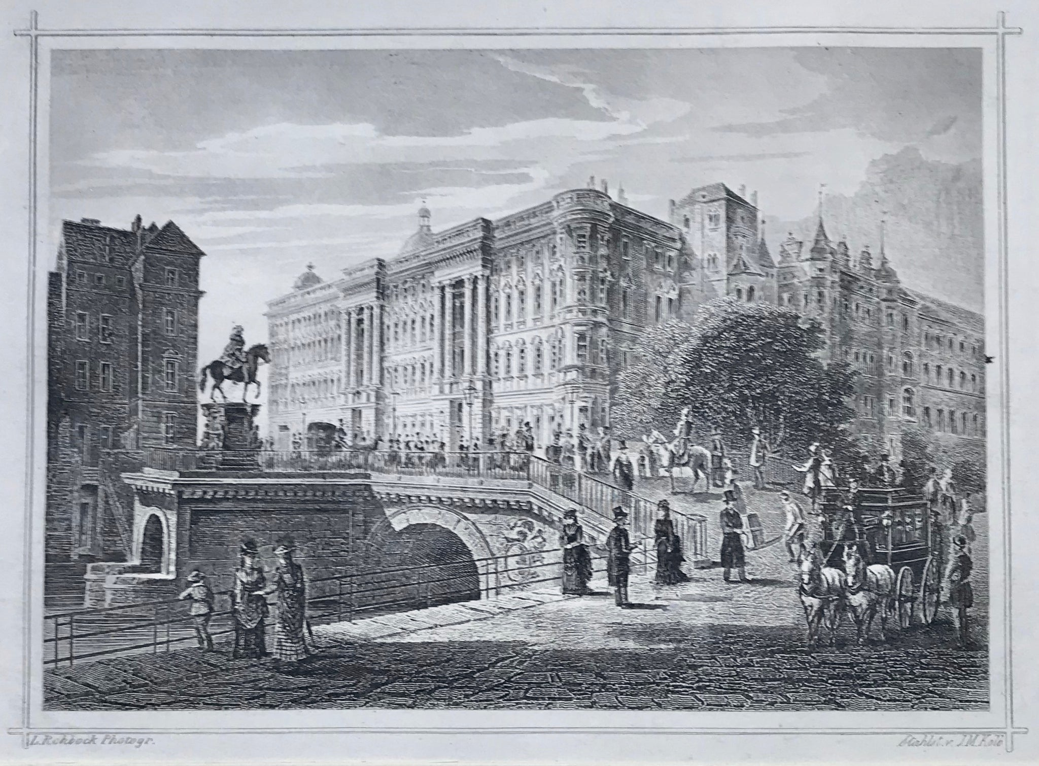 """Das Koenigl. Schloss in Berlin""  Steel engraving by J.M. Kolb after a photograph by L. Rohbock ca 1875."
