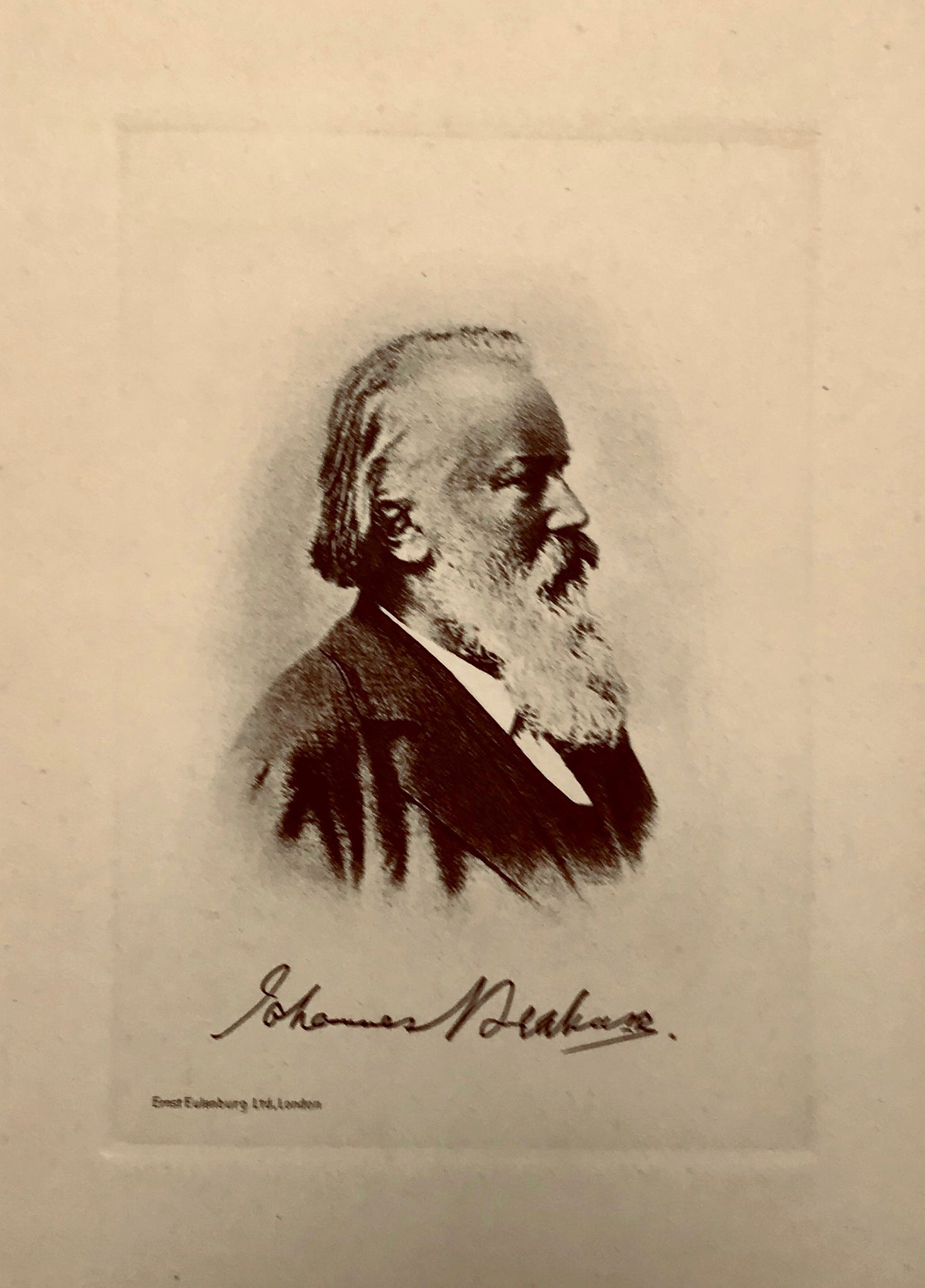 """Johannes Brahms""  Etching published by Erst Eulenburg in London ca 1885."