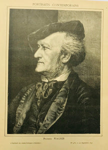 """Richard Wagner""  Wood engraving dated 1891. Light age toning. Reverse side is printed."