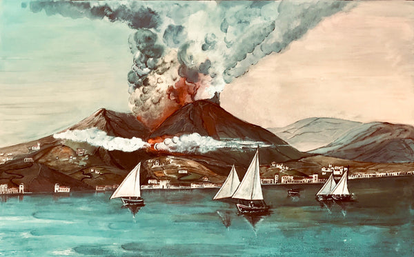City Views, Landscapes, Italy, Volcano, Naples, Vesuvius, erupting