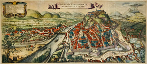 """Graecium vulgo Gratz Metropolis Styriae"". City of Graz.  Copper etching by Laurenz van de Sype (died in Graz 1634). Finished after van de Sype's death by Wenzel Hollar (1607 Prague - London 1777). Original hand coloring. Published ca. 1635/40.  Amazingly beautiful general bird's eye view of Graz. Van de Sype was a Dutch architect and copper etcher, working and living in Graz. It is obvious that his etching of Graz was a pure declaration of love!"