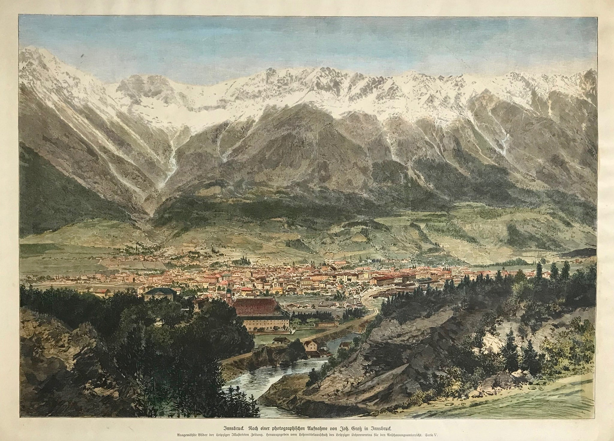"""Innsbruck"".  Wood engraving. After a photograph by Johann Gross. Recent hand coloring. Ca. 1890.  A very detailed general view from a bird's eye view against the backdrop of the snow-covered Alpine mountains."