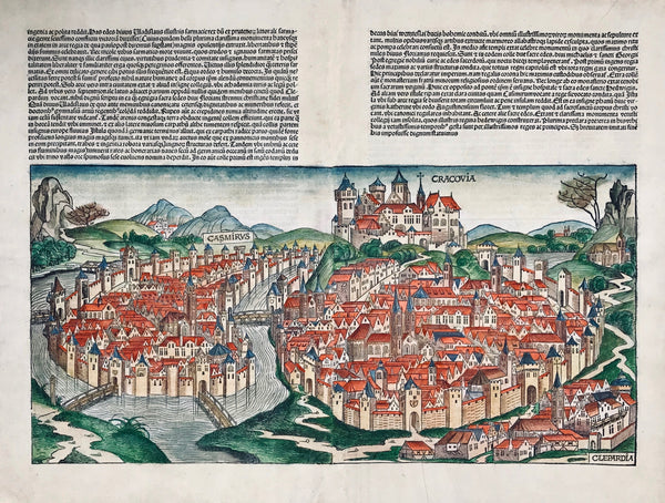 "Cracow. - ""Cracovia""  Hand-colored woodcut from the ãNuremberg Cronicle""  by Hartmann Schedel  Nuremberg, 1493. Latin edition  Verso half view of Lubeck and a portrait of bishop Stanislaus of Cracow.  Woodcut has one pleat crease in lower part. General age toning.  Centerfold has been repaired and is hardly visible.  Woodcut is basically in very good condition!  Image size: 25 x 50.7 cm (9.8 x 20"")  Page size: 43.5 x 56.8 cm (17.1 x 22.4"")    The Nuremberg Chronicle, Nuremberg 1493"