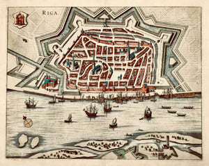 """Riga"".  Hand-colored copper etching. Published in ""Theatrum Praecipuarum Urbium, Postarum Ad Septentrionalem Europae Plagam"" by Janssonius. Amsterdam, 1657. RARE!  A large, very detailed bird's eye view of the Latvian capital with a lively ship staffage."