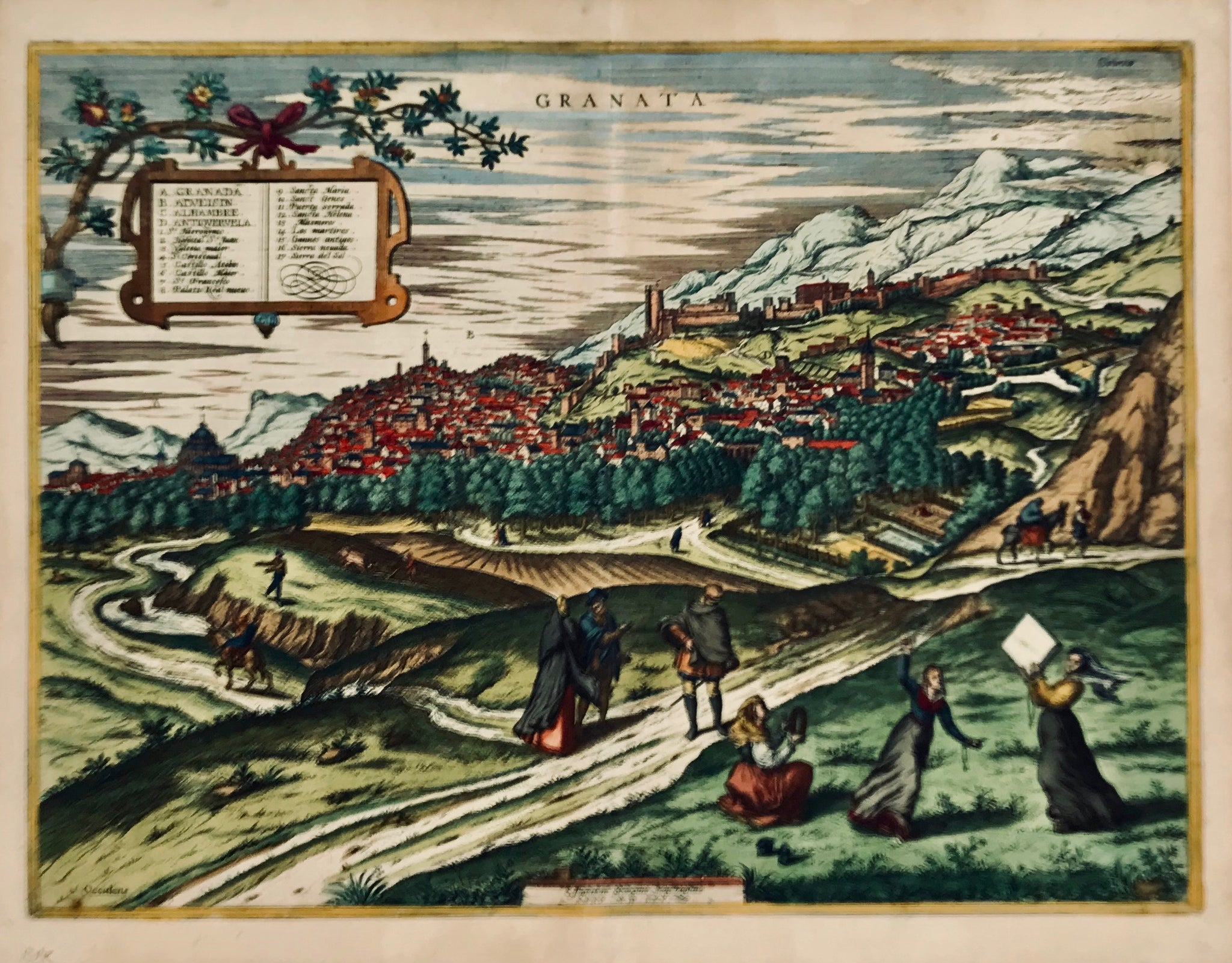"""Granata"" (Granada). Originally colored copper engraving by Georg Hoefnagel ( 1543-1600) dated in the plate 1565, but published in ""Civitates Orbis Terrarum"" by Georg Braun and Franz Hogenberg in Cologne ca 1570."