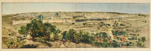 """Panorama de Jerusalem""  Hand colored wood engraving by Beltrand, Dete and Florian after the painting by Auguste Lepere (1849 - 1918). Published in ãLe Monde Illustre, Paris, ca. 1890.  This oversized panorama of the Holy City is a superb general view. Lepere was noted for his excellent rendering architecture.  General age toning. Engraving has several vertical folds to fit book size. Very nice condition!"