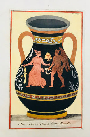 """Antica Vasis Nolaw, in Museo Mastrillo""  Image: 27.5 x 15 cm ( 10.8 x 5.9 "" ) Page size: 36 x 26 cm ( 14.1 x 10.2 "")  Small light brown spot in right title.  ETRUSCAN VASES  in fine modern hand coloring from  ""PICTURAE ETRUSCORUM IN VASCULIS  nunc primum in unum collectae  explicationibus, et dissertationibus illustratae  a Joh. Baptista Passerio Nob. Pisaur.  This collection was published in Rome in the years 1767 - 1775"