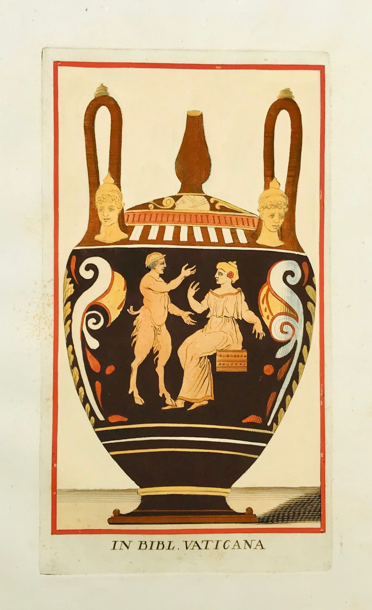 """In Bibl. Vaticana""  Image size: 26.2 x 15.2 cm (10.3 x 6"") Wide margins.  ETRUSCAN VASES  in fine modern hand coloring from  ""PICTURAE ETRUSCORUM IN VASCULIS  nunc primum in unum collectae  explicationibus, et dissertationibus illustratae  a Joh. Baptista Passerio Nob. Pisaur.  This collection was published in Rome in the years 1767 - 1775"