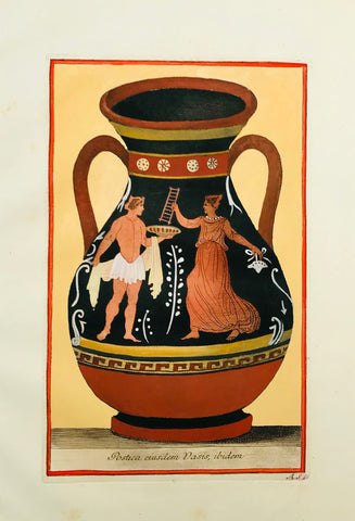 """Postica eiusdem Vasis, ibidem""  Image size: 27.5 x 17.1 cm (10.8 x 6.7 "") Wide margins.   ETRUSCAN VASES  in fine modern hand coloring from  ""PICTURAE ETRUSCORUM IN VASCULIS  nunc primum in unum collectae  explicationibus, et dissertationibus illustratae  a Joh. Baptista Passerio Nob. Pisaur.  This collection was published in Rome in the years 1767 - 1775"