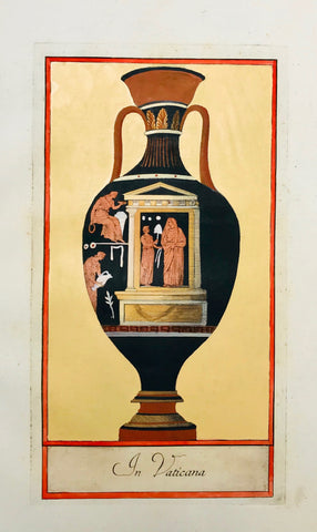 """In Vaticana""  Image size: 28 x 14.7 cm (11 x 5.8 "") Wide margins.  ETRUSCAN VASES  in fine modern hand coloring from  ""PICTURAE ETRUSCORUM IN VASCULIS  nunc primum in unum collectae  explicationibus, et dissertationibus illustratae  a Joh. Baptista Passerio Nob. Pisaur.  This collection was published in Rome in the years 1767 - 1775"