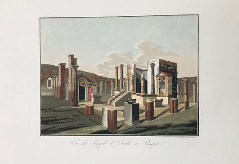 Vue du Temple d'Iside à Pompeii  Aquatint engraved by Paul Fumagalli from 1821-1825  These prints with their velvety aquatint appearance were made to delight our hearts. They portrait, like no others, the elegance of architecture and the luxurious lifestyle of the citizens of the ancient city - until the nearby Vesuvius put an end to it all in a devestating rain of volcanic ashes.