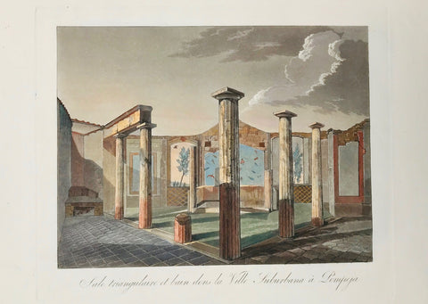 "Sale triangulaire et bain dens la Ville Suburbana à Pompeji  21.6 x 28 cm ( 8.5 x 11 "")    Aquatints engraved by Paul Fumagalli from 1821-1825  These prints with their velvety aquatint appearance were made to delight our hearts. They portrait, like no others, the elegance of architecture and the luxurious lifestyle of the citizens of the ancient city - until the nearby Vesuvius put an end to it all in a devestating rain of volcanic ashes."