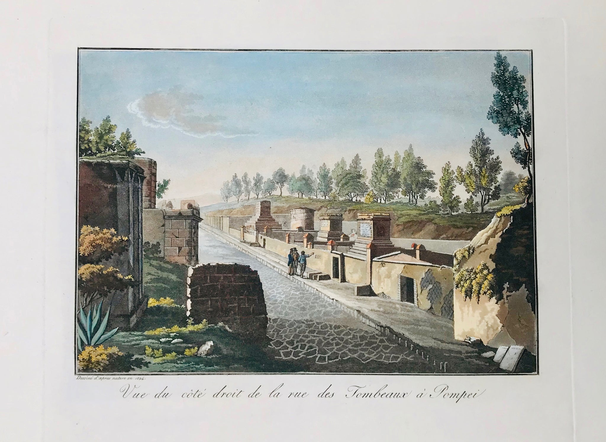 "Vue du côte droit de la Rue des Tombeaux à Pompeii  19.3 x 28 cm ( 7.6 x 11 "")    Aquatints engraved by Paul Fumagalli from 1821-1825  These prints with their velvety aquatint appearance were made to delight our hearts. They portrait, like no others, the elegance of architecture and the luxurious lifestyle of the citizens of the ancient city - until the nearby Vesuvius put an end to it all in a devestating rain of volcanic ashes."