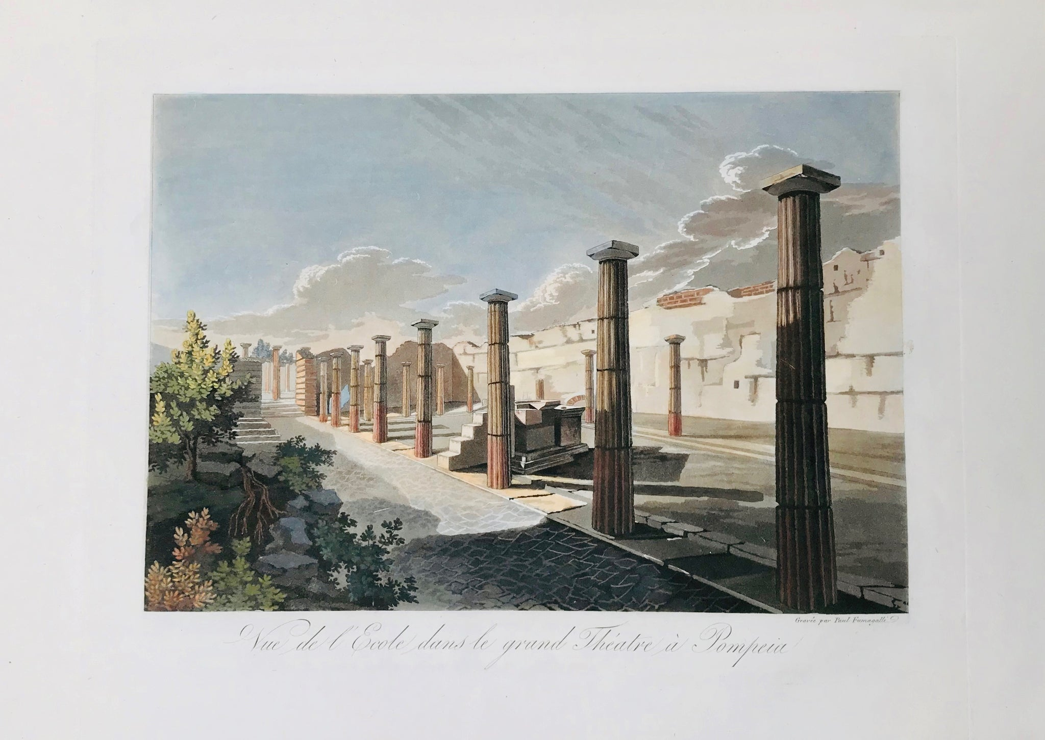 "Vue de l'Ecole dans le grand Théatre à Pompeia  Some foxing in lower margin.  19.3 x 28 cm ( 7.6 x 11 "")  Aquatints engraved by Paul Fumagalli from 1821-1825  These prints with their velvety aquatint appearance were made to delight our hearts. They portrait, like no others, the elegance of architecture and the luxurious lifestyle of the citizens of the ancient city - until the nearby Vesuvius put an end to it all in a devestating rain of volcanic ashes."