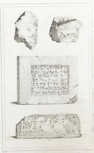 "Archeology, ""Babylonie"" ""Briques, conservees au cabinet des antiques de la biblioteque Royale""  Steel engraving by Lemaitre ca 1845. Right and lower margins are narrow."
