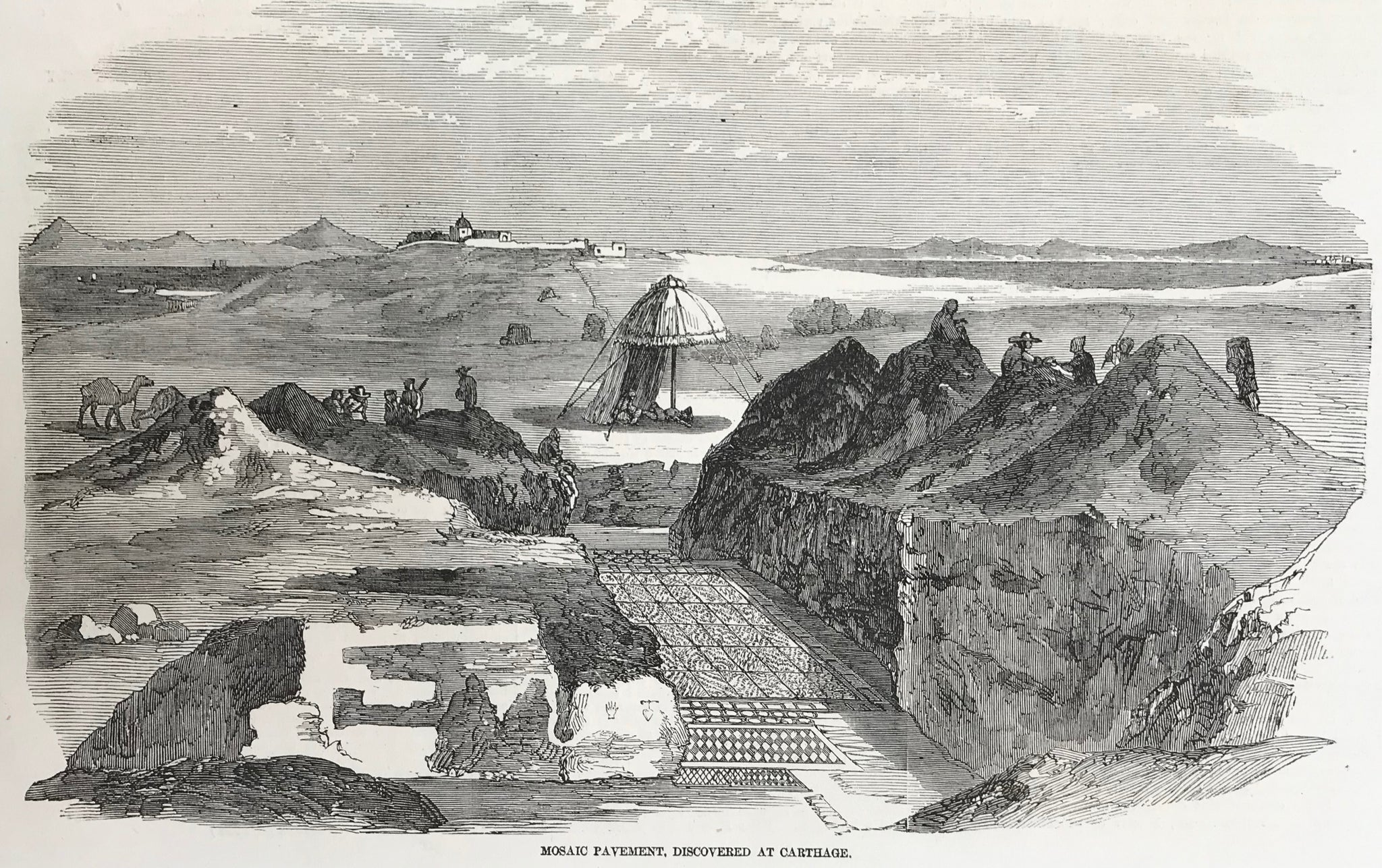 "Archeology, ""Mosaic Pavement, Discovered at Carthage.""  Wood engraving, 1858. Reverse side is printed. Narrow upper margin."
