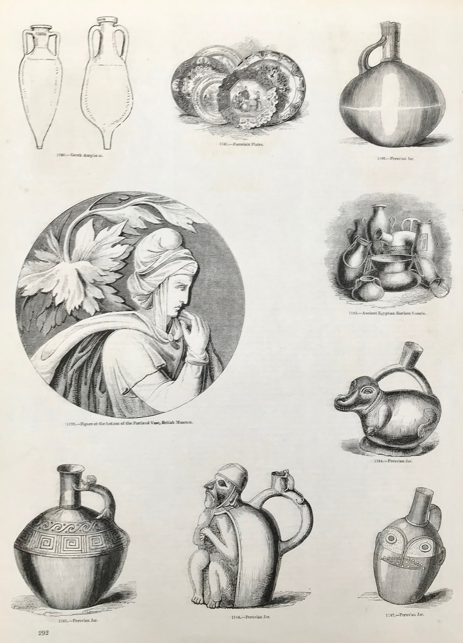 Center: Figure at the bottom of the Portland Vase, British Museum. Peruvian and Eygptian vessels.  Wood engravings ca 1875. Backside is printed. Minor spots in margins.