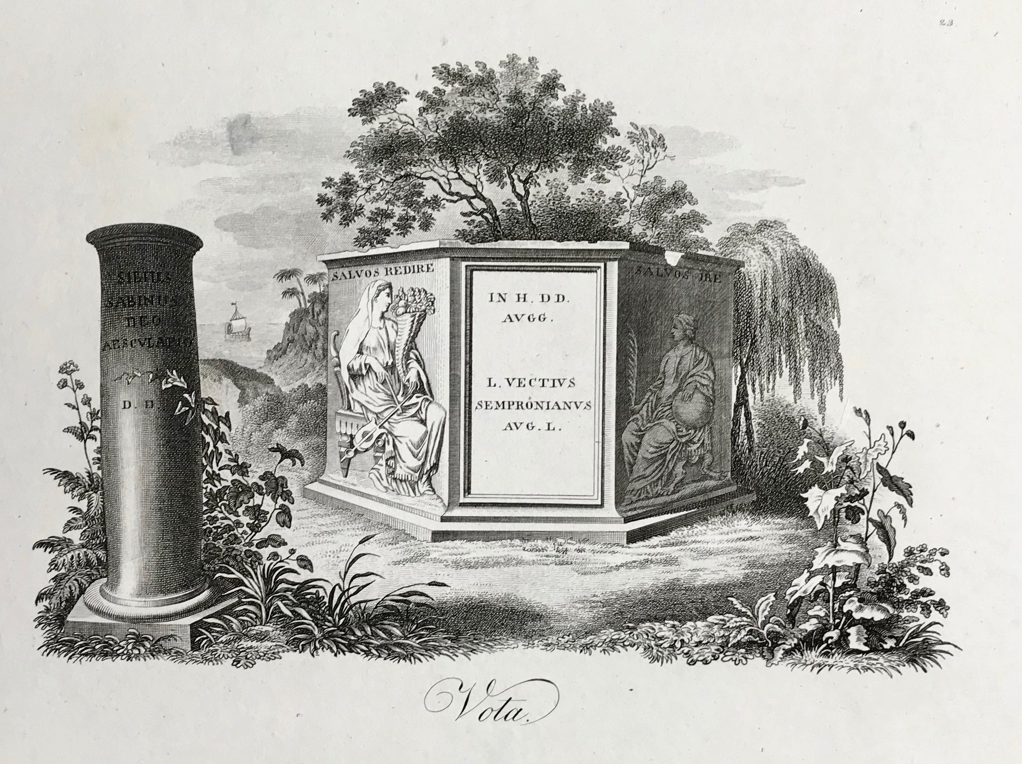 Vota Text on tombstone: SALVOS REDIRE IN HH DD AVGG L VECTIUS SEMPRONIANUS AVG L.